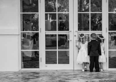 Flower girls and ring bearer at reception