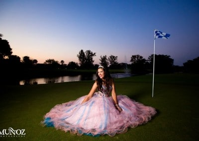 Blue and pink gown on golf course