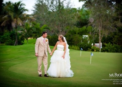 Newlyweds on Golf Course at Deer Creek