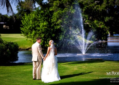 Newlyweds on scenic golf course at Deer Creek