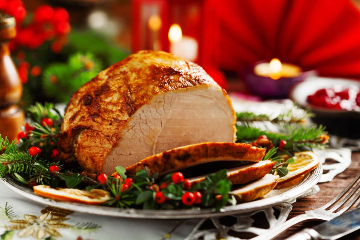 Christmas Day Buffet with Chicken on a Plate