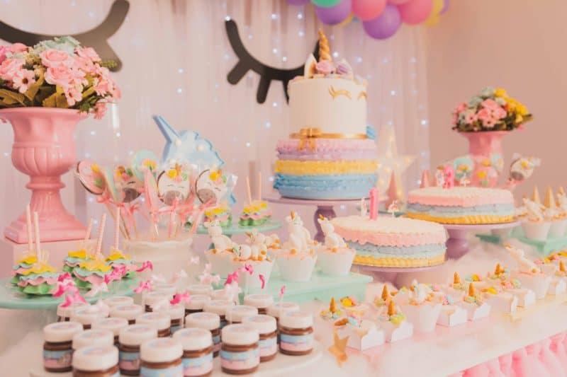 cupcakes, cake, flowers, balloons