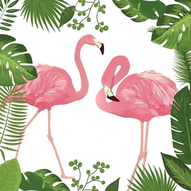 flamingos, palm leaves