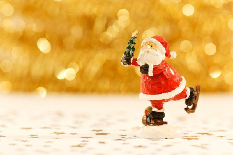 Santa, toy, gold glitter
