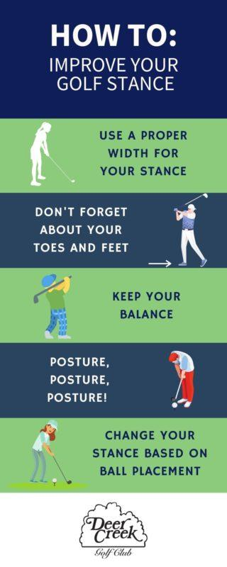 infographic on how to improve golf stance