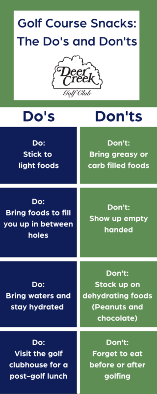 infographic on the dos and donts of golf course snacks